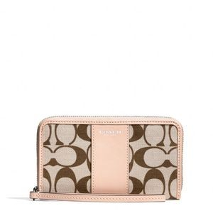 Small Coach Wristlet With Signature Fabric